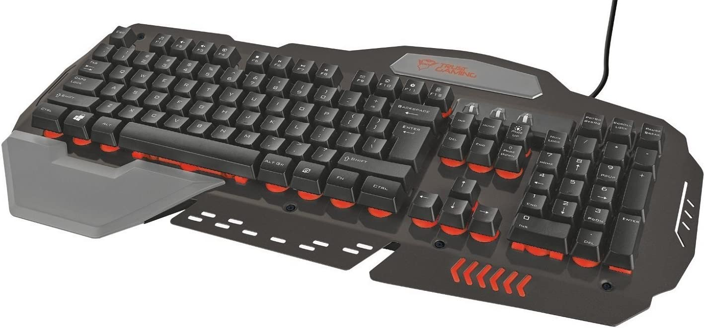 Trust GXT 850 - Teclado metálico iluminado para gaming, negro, teclado QWERTY español