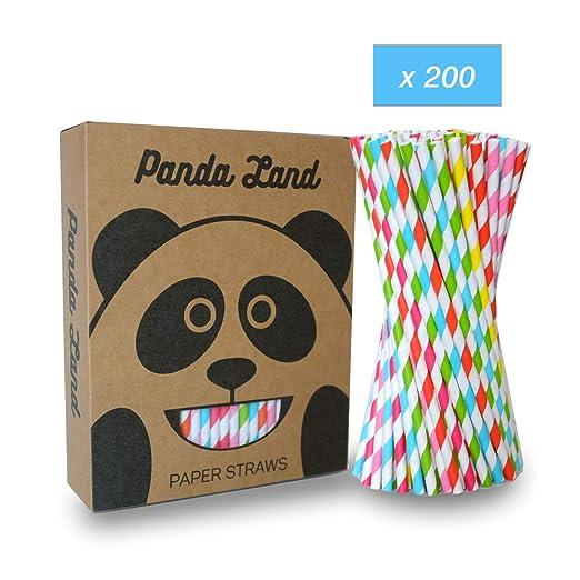 PANDA LAND Pajitas de Papel (200 uds.) Ecológicas y Biodegradables para Bodas, Cumpleaños, Coctéles, Fiestas (5 Colores)