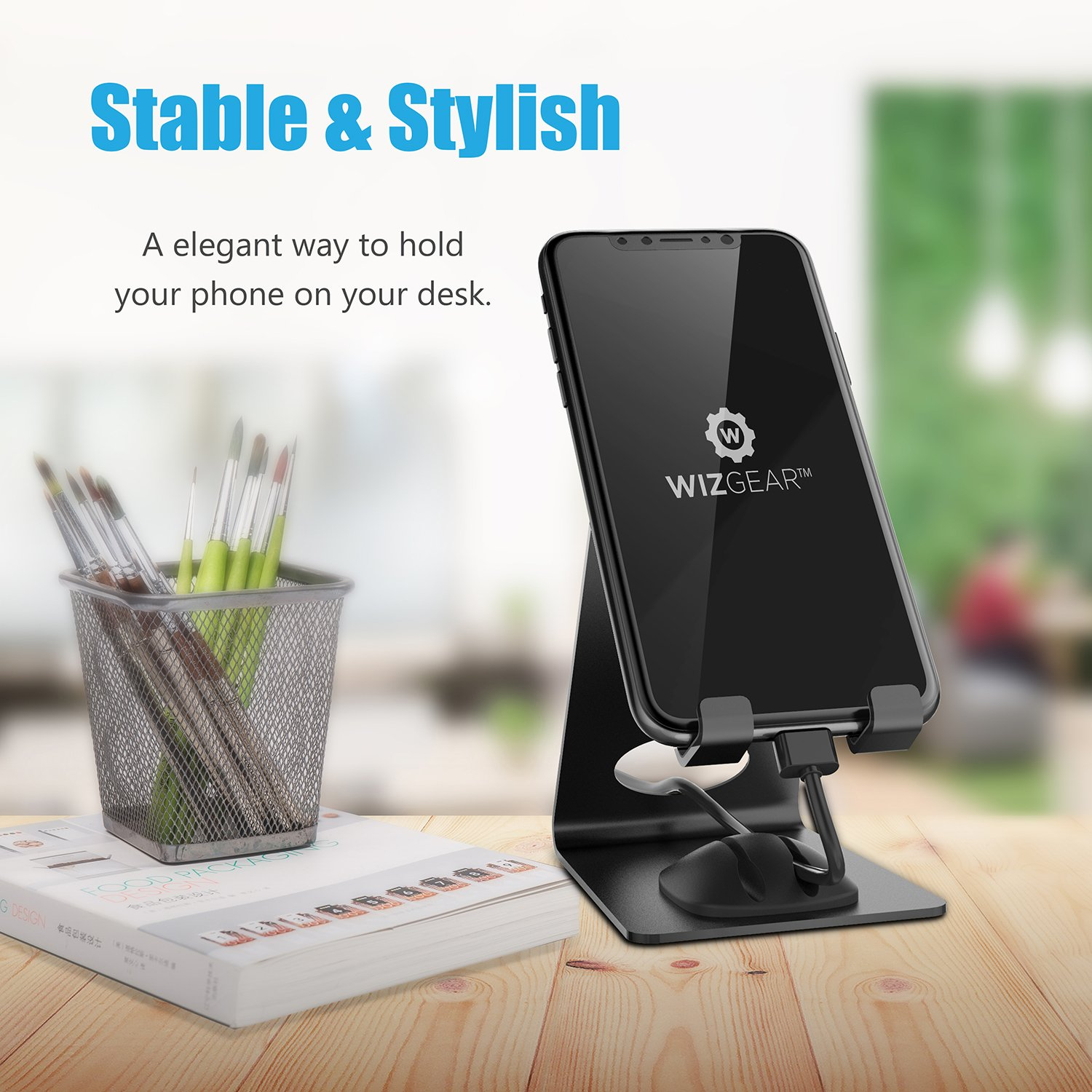Cell Phone Stand, WizGear Premium Phone Holder For iPhones, Android Smartphones & Mini Tablets –Sturdy Metal Phone Stand For Desk With Smart Cord Holder System by WizGear (Image #2)