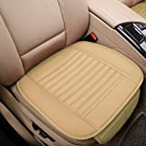 Car Seat Cushion, 1PC Breathable Car Interior Seat Cover Cushion Pad Mat for Auto Supplies Office Chair with PU Leather(Beige)