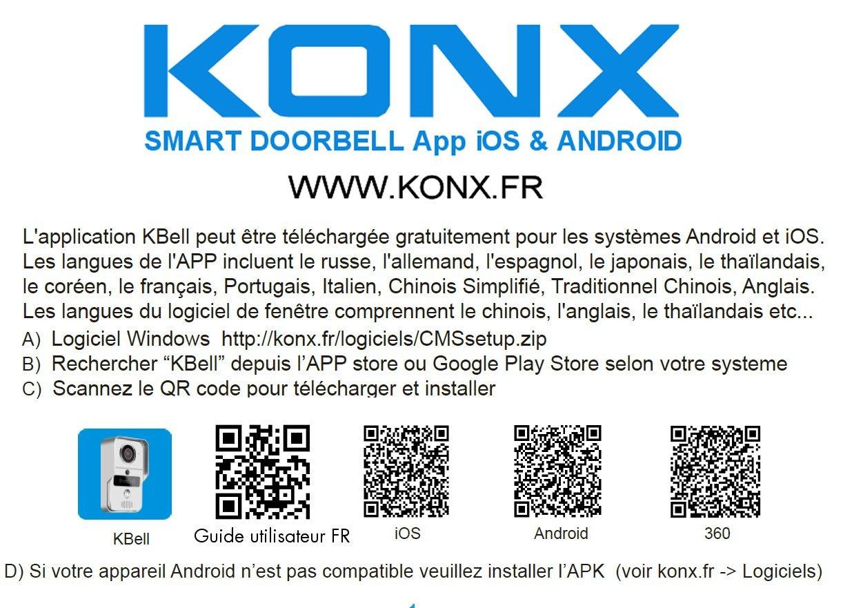 lecteur RFID Konx d/étecteur de mouvement Portier audio et vid/éo 720p Wi-Fi
