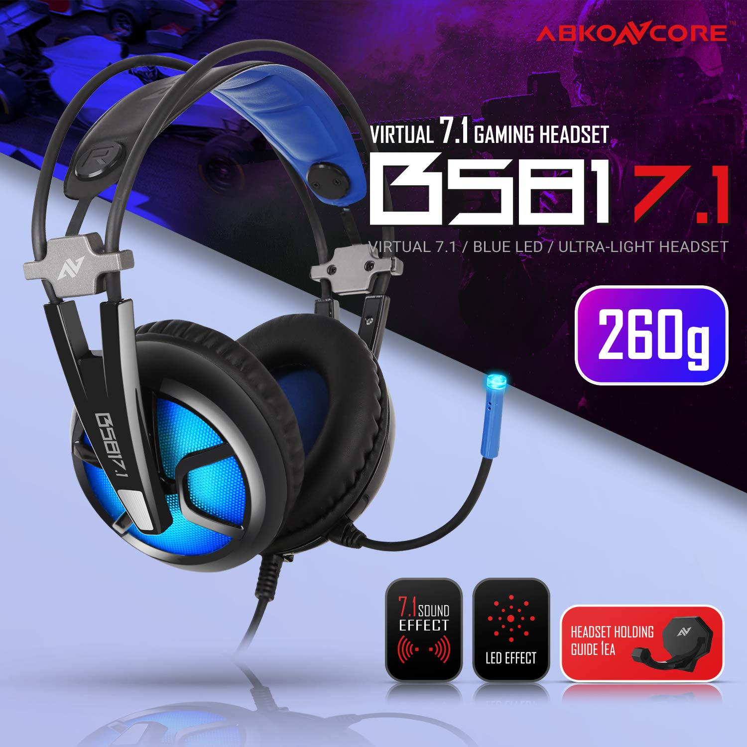 ABKONCORE B780 7.1 Surround Sound Gaming Headset for Gaming PC, Gaming Laptop, USB Headset with High Sensitive Adjustable Microphone, Over Ear Headphones, Ultralight, Breathing LED Light, Comfortable Earmuffs