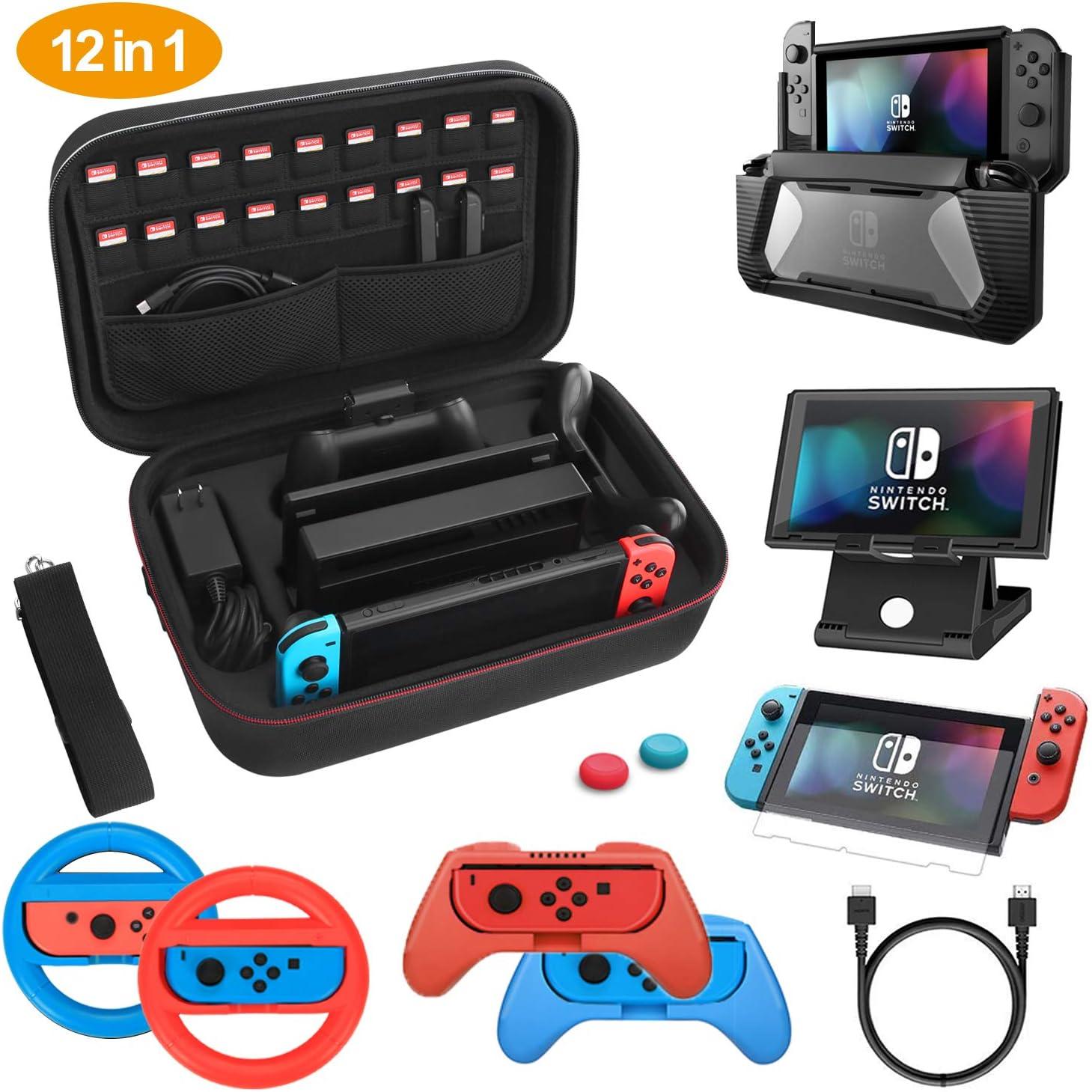 HEYSTOP Kit de Accesorios 12 en 1 para Nintendo Switch, con Funda de Transporte, TPU Cubierta Protectora, Joy-con Grip y Volante, Soporte,Protector de Pantalla, Apretones de Pulgar, Cable USB (Negro): Amazon.es: Electrónica