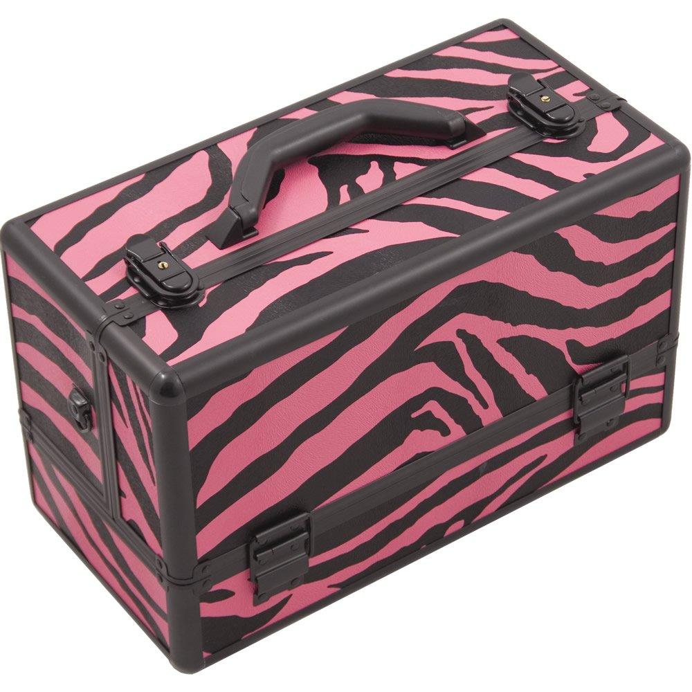 Hiker HK3201 Professional Makeup Artist Cosmetic Train Case Organizer Storage 6-Tray 2 Brush Holder, Zebra Pink, 1-Count HK3201ZBPB