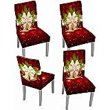 Muuyi Fundas para Sillas for Campana de Navidad,Poliéster Elástica Fundas sillas Duradera Modern Bouquet de la Boda Hotel Dec