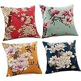 "TOP MADE 4 Packs Decorative Cushion Covers Sofa Pillowcase Cotton Linen Throw Pillow Covers 18""x 18"""