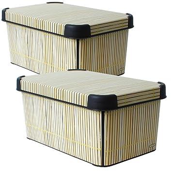 Lot De 2Curver Boîte Box Boîte De Rangement Avec Couvercle Bambou Décor En  Wohnlichem Design