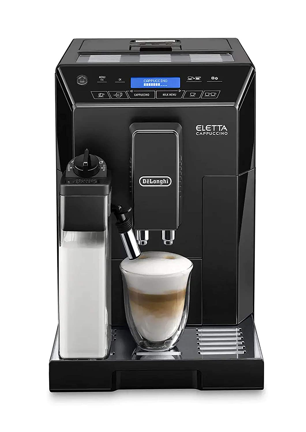 Delonghi super-automatic espresso coffee machine with an adjustable grinder, double boiler, milk frothermaker for brewing espresso, cappuccino, latte, macchiato & Flat white. ECAM44660B Eletta