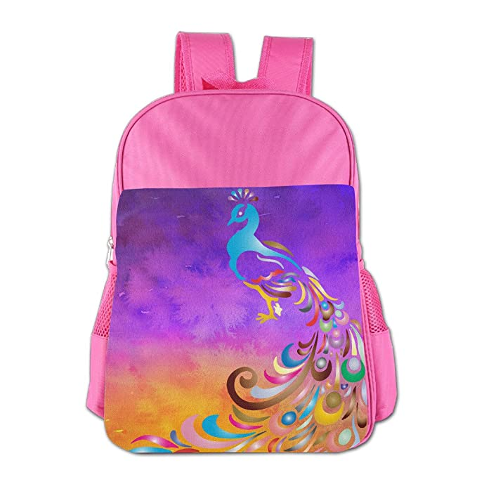 6cbcdd4536c3 Amazon.com | Cartoon Peacock Girls Children Kids Schoolbag ...