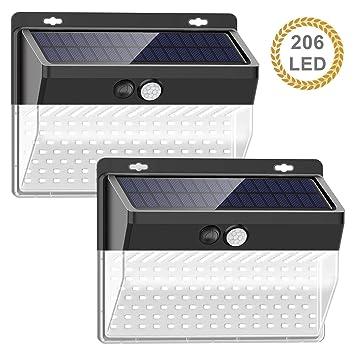 Dingde Luz Solar Exterior 206 LED, Foco Solar Exterior con Sensor ...