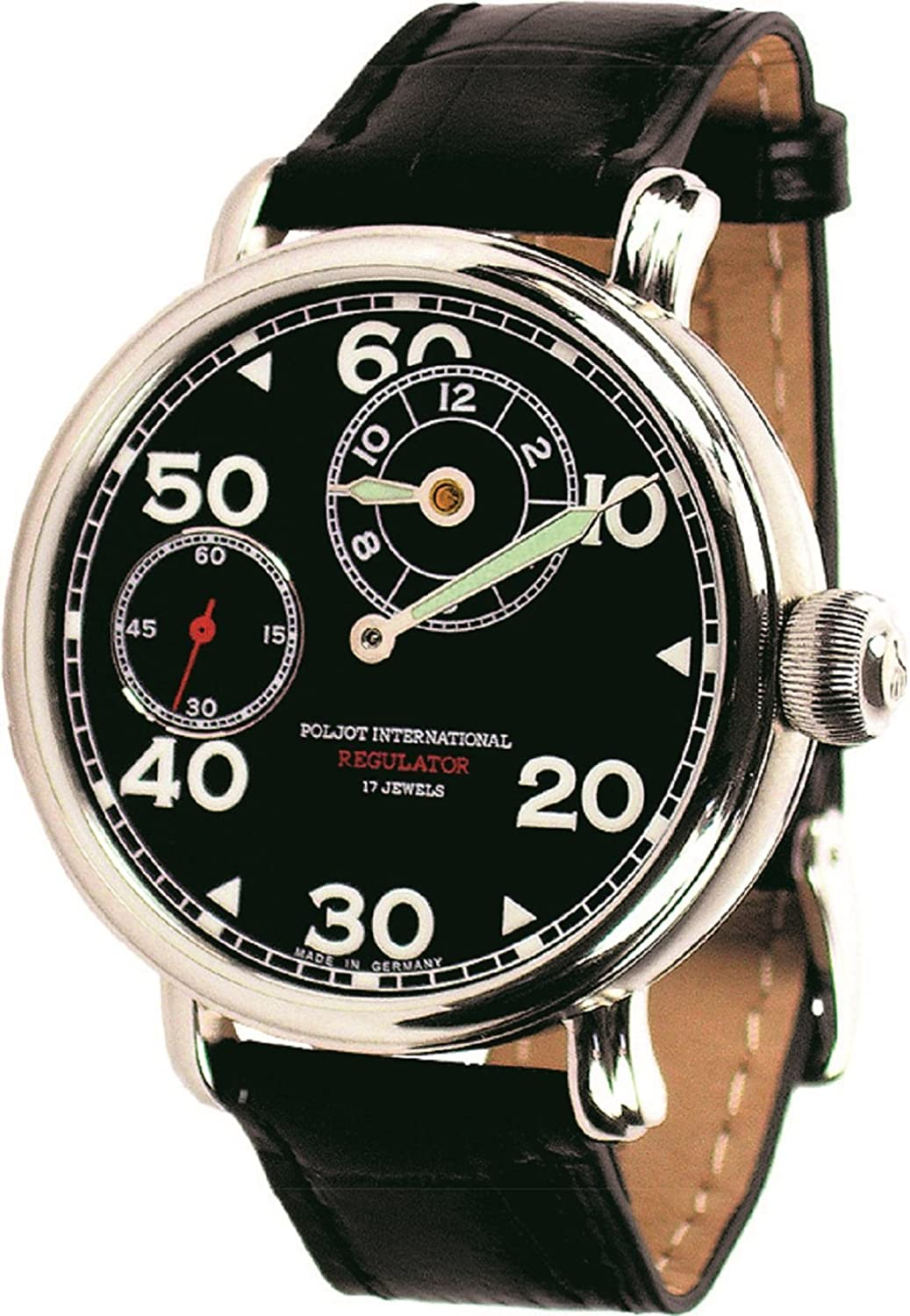 Regulator Handaufzug Herren-Armbanduhr mechanisch Lederband schwarz - POLJOT-International