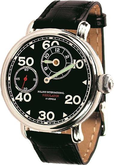 POLJOT Int Regulator Reloj de pulsera Hombre Mecánicocuerda manual Cuero Negro: Amazon.es: Relojes
