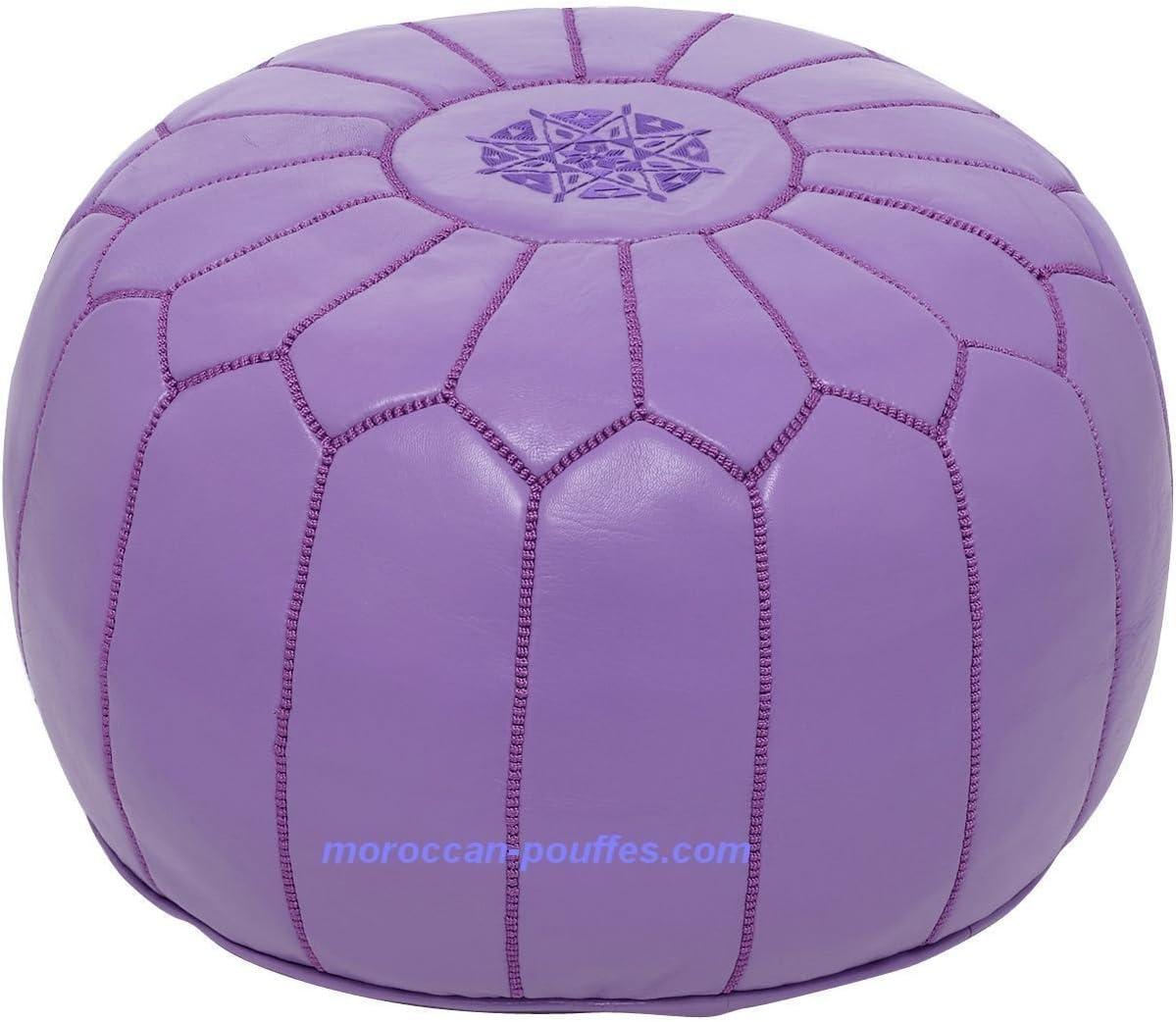 moroccan poufs Leather Luxury Ottomans Footstools Purple Unstuffed