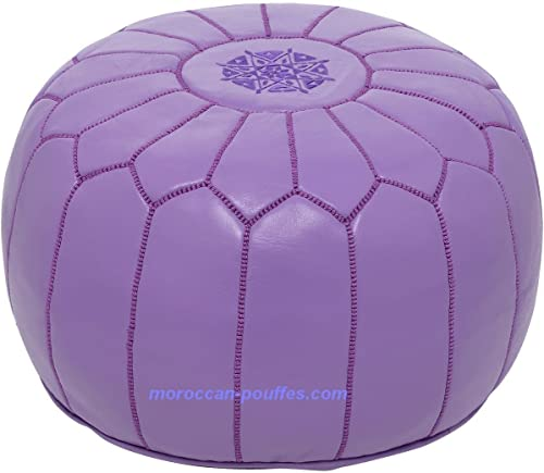 moroccan poufs Leather Luxury Ottomans Footstools Purple Unstuffed
