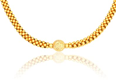 Meenaz Jewellery Gold Plated Traditional Maharashtrian Thushi Necklace Jewellery Set For Girls Women Latest Design Thushi 105
