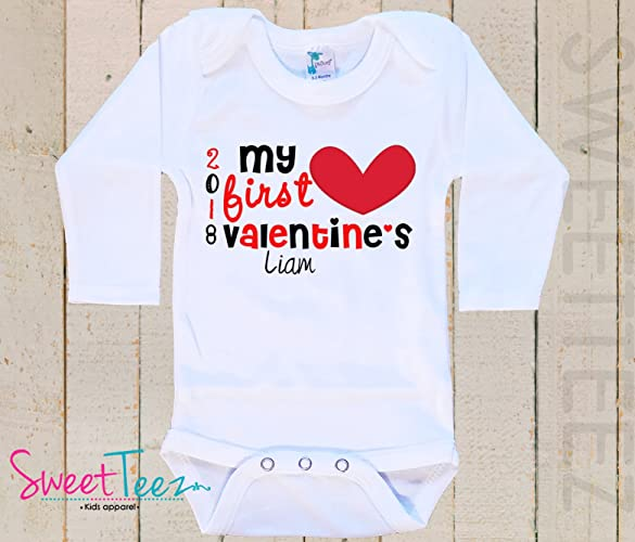 Amazon my first valentines baby bodysuit baby girl boy heart my first valentines baby bodysuit baby girl boy heart personalized with name and year gift negle Choice Image