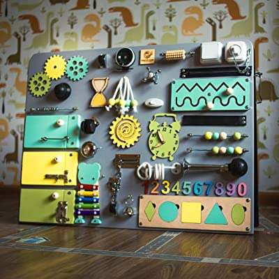 SmartKids-2 European Quality. Handmade Wooden Busy Board, Clever Puzzles, Locks and Latches Activity Board (Grey) : Baby