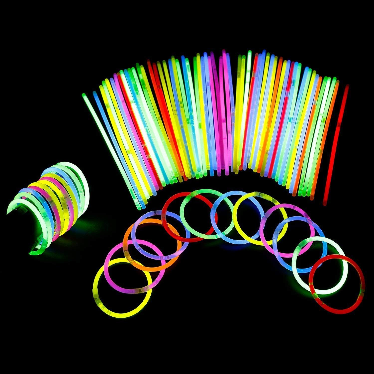 Lumistick 8 Inch 1000 Pack Glow Sticks - Bendable Glow Sticks with Necklace and Bracelet Connectors - Glowstick Bundle Party Bracelets Best for Parties, Events and Holidays (Assorted, 1000) by Lumistick (Image #7)