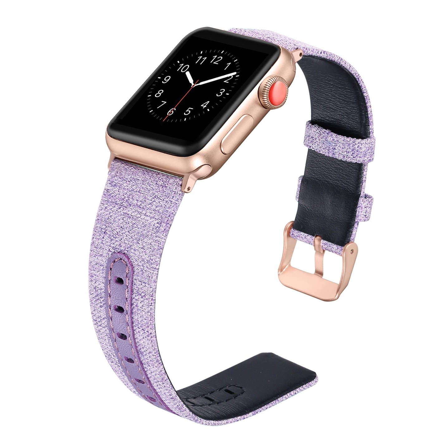 Secbolt for Apple Watch Band 38mm for Women, Canvas Fabric Bands with Genuine Leather Strap Replacement for iWatch Apple Watch Nike+, Series 3, Series 2, Series 1, Sport, Edition(Lavender, 38mm)
