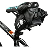 Jhua the Newest Bike Saddle Bag Waterproof Bicycle Seat Pack With PVC Net Clamping Cloth Lightweight & Adjustable Seat Bag Black