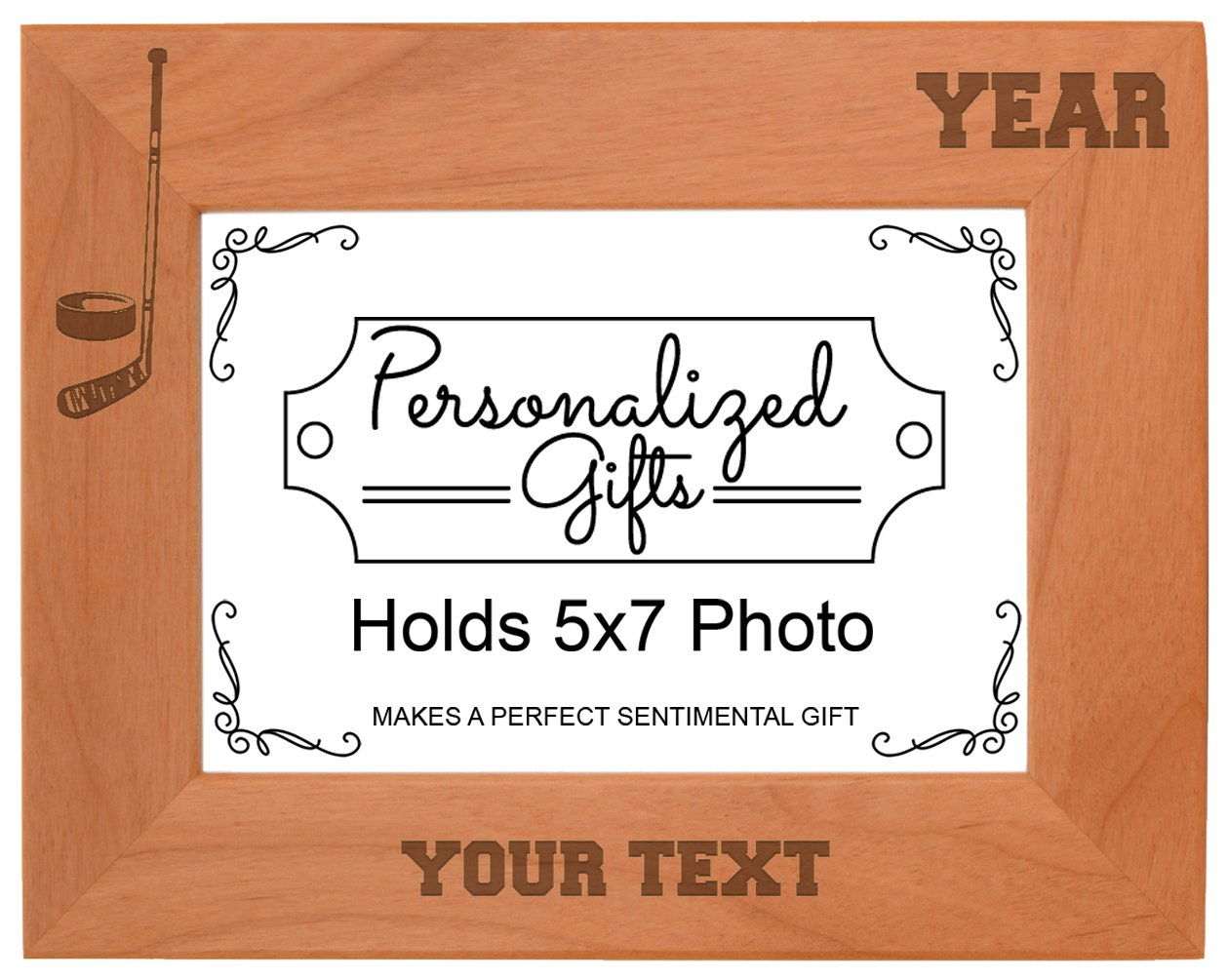 Custom Hockey Gift Add Text Year Personalized Natural Wood Engraved 5x7 Landscape Picture Frame