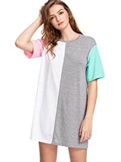 e7173cdd0d4a Romwe Women's Color Block Cut and Sew Round Neck Tee Shirt Short Dress