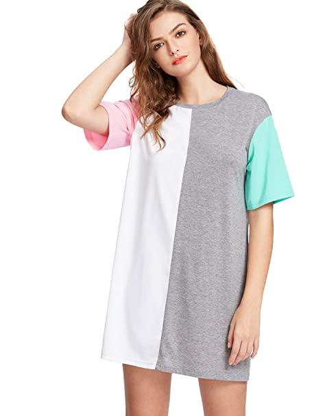 e4356efc802 Romwe Women s Color Block Cut and Sew Round Neck Tee Shirt Short Dress  Multicolored XS