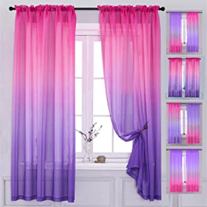 """Yancorp 2 Panel Sets Bedroom Curtains 63 inch Length Sheer Curtain Linen Pink Blush Purple Ombre Curtains Drapes Girls Living Room Door Kitchen Window 63 72 84 96 inches Long (Pink Purple, 40""""x63"""")"""