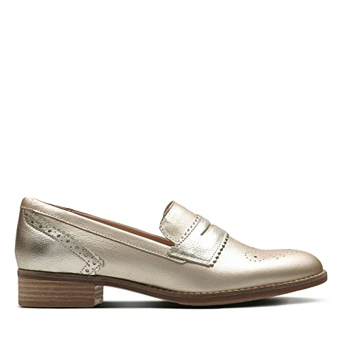 Clarks Netley Lola Leather Shoes In Light Grey Standard Fit Size 5  JT3QFCH96