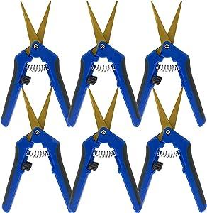 6Pack Gardening Pruning Shears Hand Handheld Pruner Stainless Steel Curved Blades Garden Clippers Scissors Kit Blue