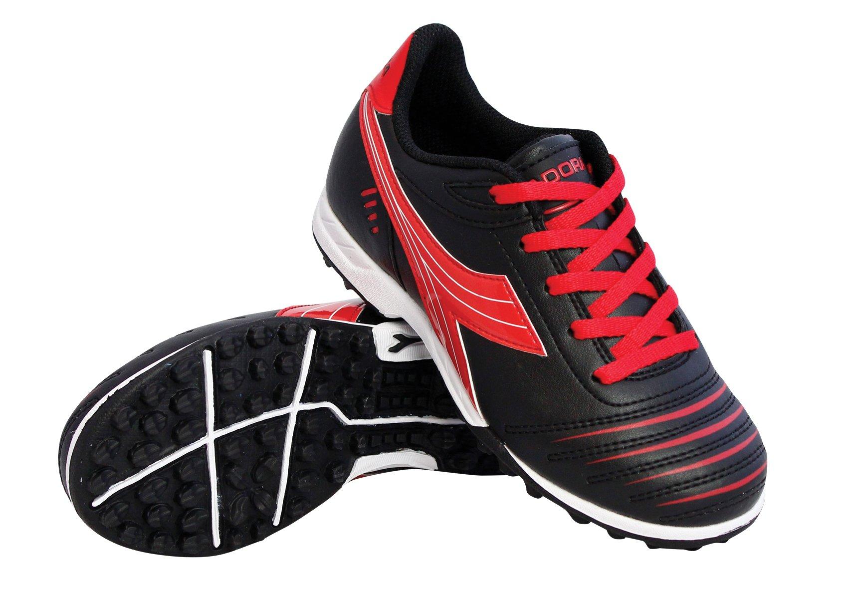 Diadora Kids Cattura TF JR Turf Soccer Shoe (13 M US Little Kid, Black/Red)