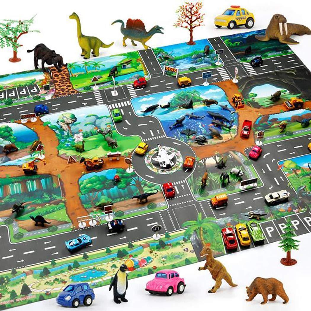 Greeiok Enfants Carte Taffic Animal Tapis De Jeu B/éb/é Route Tapis D/écor /À La Maison Jouet /Éducatif Gratte-Langues