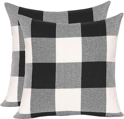 Set Of 2 Black And White Buffalo Check Plaid Throw Pillow Covers Farmhouse 18x18
