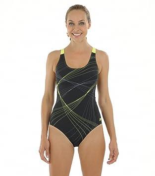 Zoggs Sydney Flyback Swimsuit - Body de competición para mujer, color negro/amarillo, talla UK: 32 Inch/Size 8