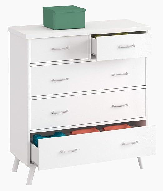 Cómoda Dormitorio Tina Vintage Tirador Clasico habitacion Juvenil Blanco sifonier 5 cajones 90x45x99