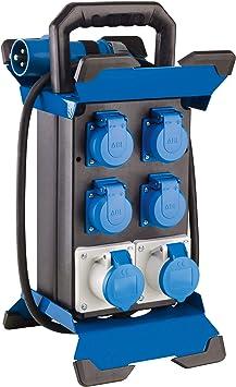 as - Schwabe 4 Schuko + 2 enchufes CEE energía móvil – Caja de distribución para Camping – IP44 – Fabricado en la UE I 60869, Negro: Amazon.es: Bricolaje y herramientas