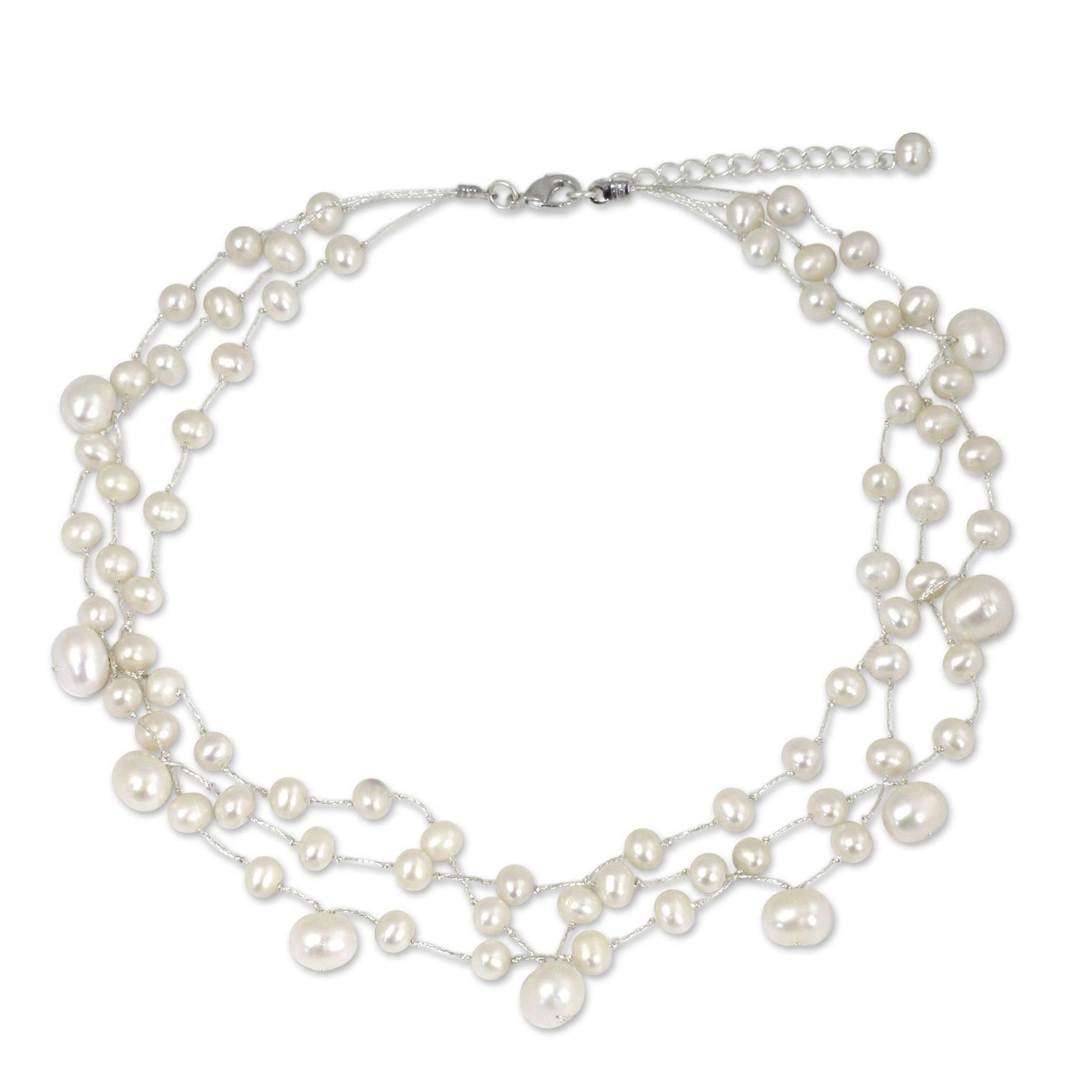 NOVICA White Cultured Freshwater Pearl Multi-Strand Bridal Choker, 15.5'' - 17.5'', Moonlight Glow'