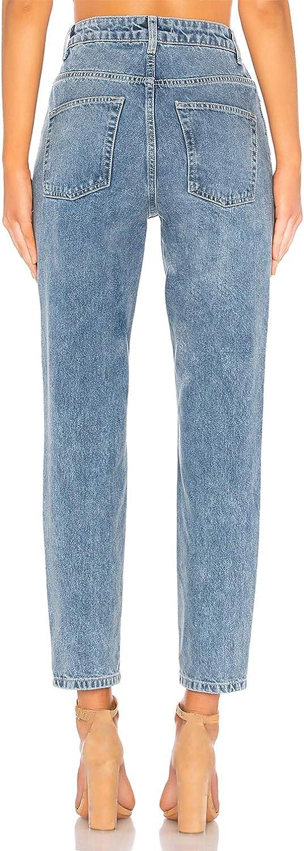 H HIAMIGOS Mom Jeans Slim a Vita Alta Jeans da Donna Stile Boyfriend Pantaloni Vintage retr/ò in Denim Lavaggio Stone Wash Blu