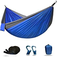 Double Camping Hammock Lightweight Nylon Parachute for Indoor Outdoor Backpacking Camping Travel Beach Yard 118(L) x 78…
