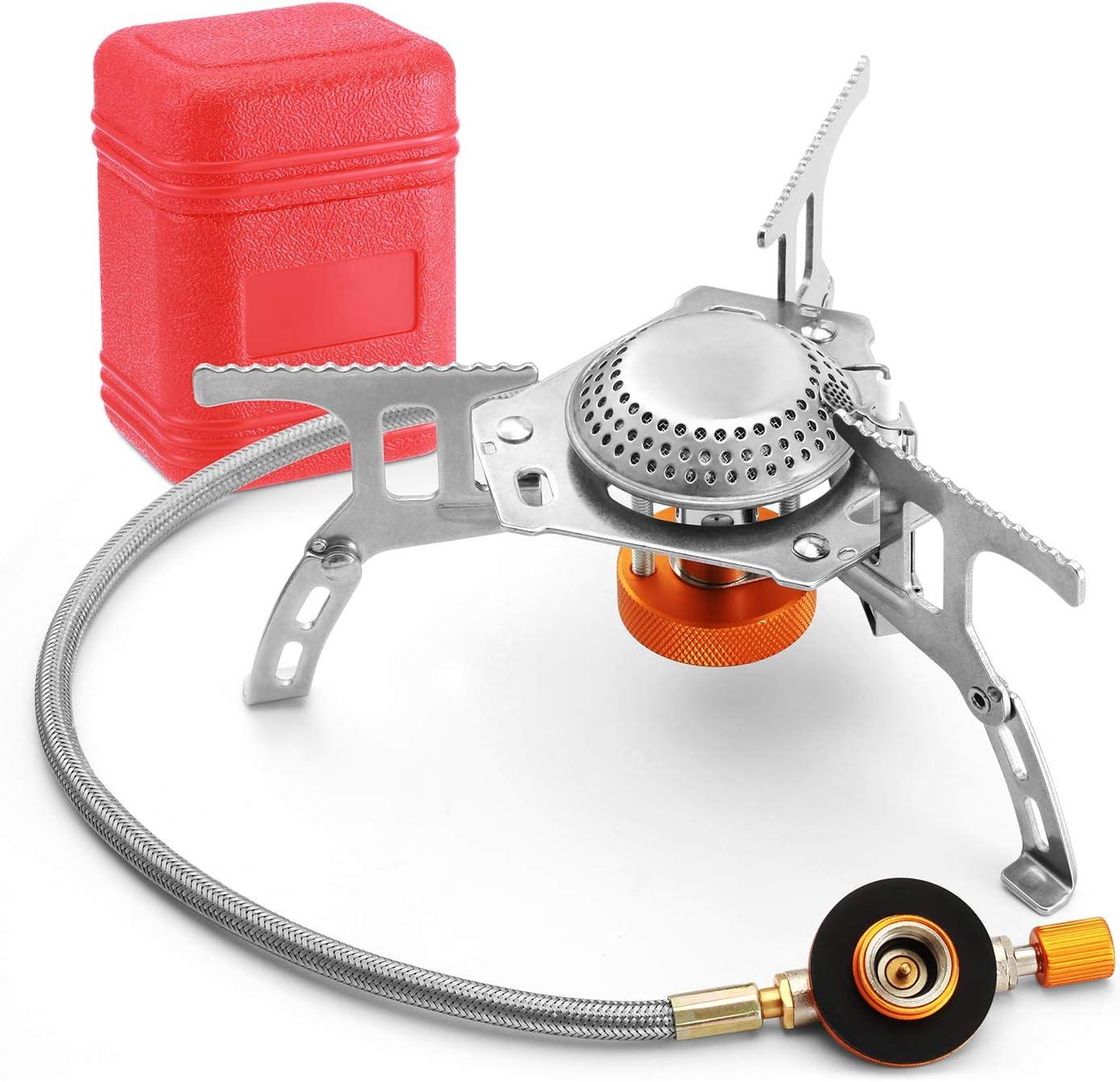 Suzzam Hornillo de camping con encendido piezoeléctrico, 3500 W, plegable, hornillo de gas de camping 360°, círculo resistente al viento para ...