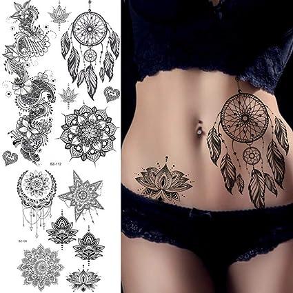 MRKAL Tatuajes Temporales Atrapasueños Mandala Flor De Lotus ...