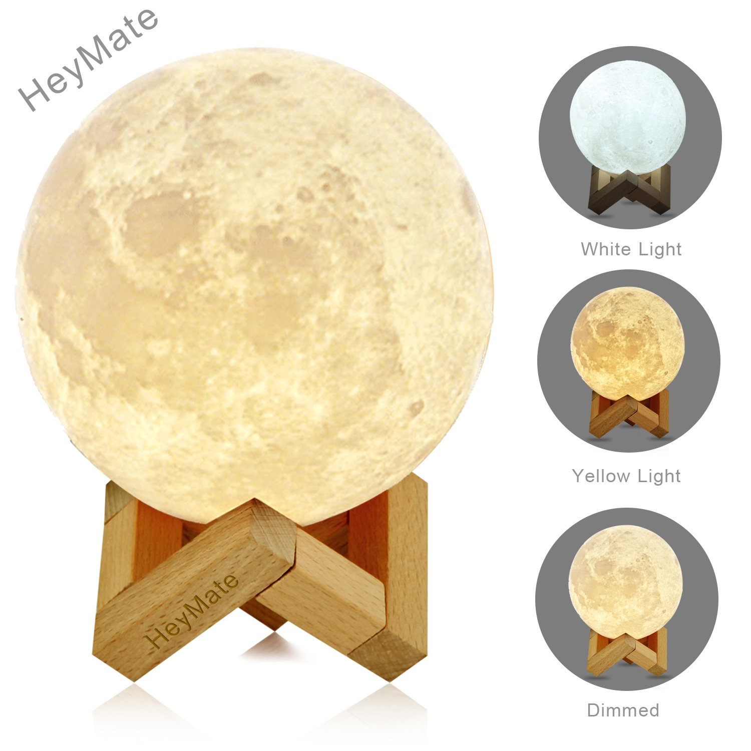 HeyMate 3D Printing Lunar Lamp Touch Control Night Light as Kids Women Girls Gift,Large ! 5.9'' Rechargeable Moon Lamp with Wooden Holder, Warm Cool White Dimmable Touch Control