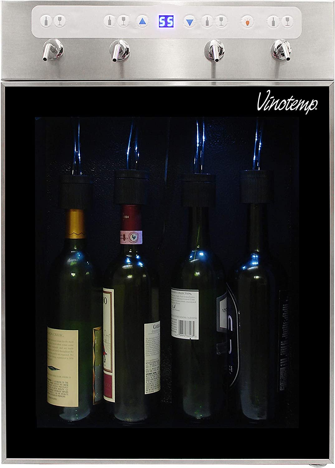 Vinotemp VT-PRWINEDIS4S 4 Bottle Stainless Wine Dispenser with Custom Portion Control and Tempurature Display for Home and Commercial use