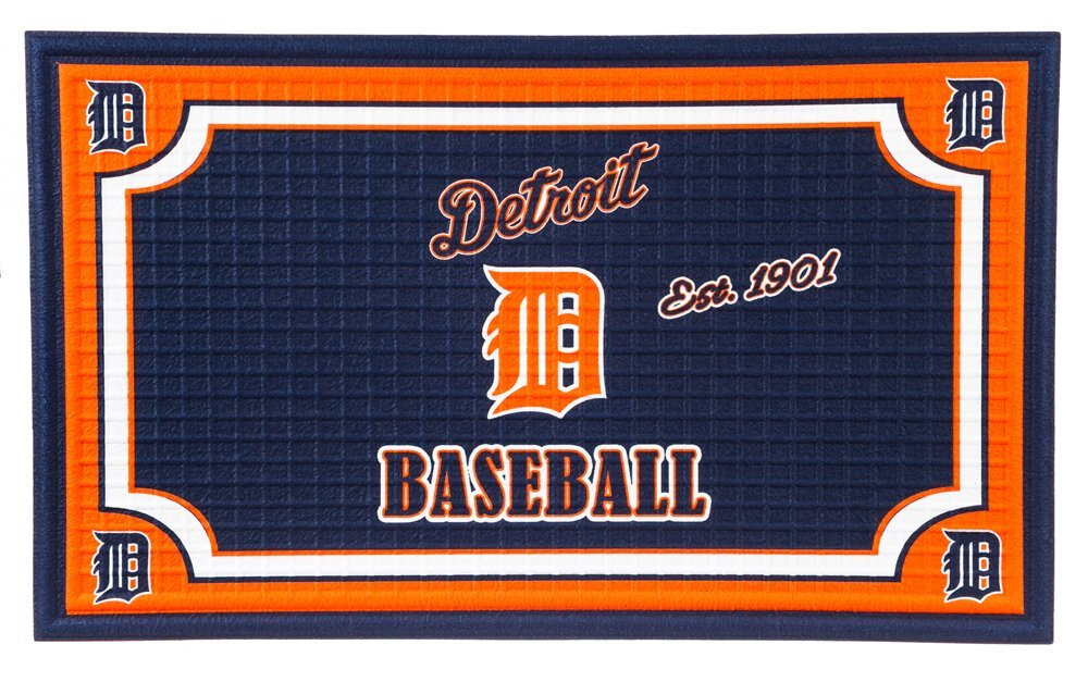 Team Sports America Detroit Tigers Embossed Floor Mat, 18 x 30 inches