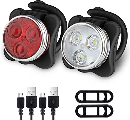Rechargeable Bright DEL Bike Lights Set-Phare Feu Arrière Combinaisons DEL