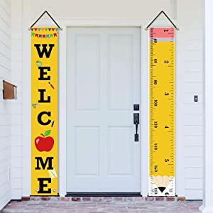 AVOIN Back to School Porch Sign Classroom Decoration, Welcome Quote Apple Pencil First Day of School Teacher Appreciation Hanging Banner Flag for Preschool Kindergarten Party 12 x 72 Inch