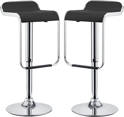 Modway-LEM-Mid-Century-Modern-Adjustable-Swivel-Piston-Bar-Stool-In-Black-With-Faux-Leather-Seat---Set-of-2