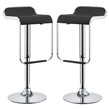 Cool Modway Lem Two Mid Century Modern Adjustable Swivel Bar Stools With Faux Leather Upholstered Seat Cushion In Black Forskolin Free Trial Chair Design Images Forskolin Free Trialorg