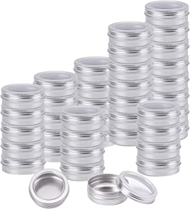 Foraineam 40 Pack 2 Ounce Round Tin Cans Metal Empty Tins Silver Aluminum Kitchen Office Travel Storage Containers with Clear Screw Top Lids