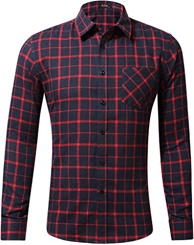 SoonerQuicker Camisas Hombre Manga Camisa de Manga Larga de Moda Casual para Hombre Bolsillo de impresión a Cuadros con Bolsillo Tops - 2019 última Camisa Casual cómoda: Amazon.es: Ropa y accesorios